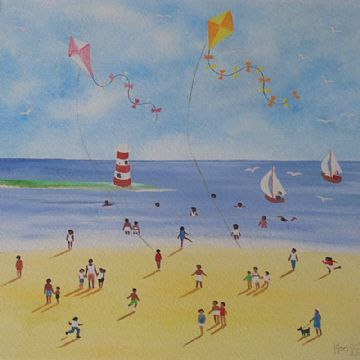 Judy Joel Original Gouache Painting Beach Flying Kites At The Beach
